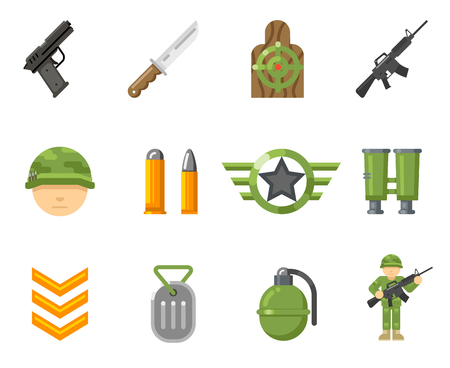 head shot: War game flat icons, or army and weapon signs vector. Set of weapon for game war, illustration military automatic weapon and pistol for web game Illustration