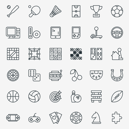 gambling game: Game line icons vector. Set of linear sign for game and sport, illustration pictogram gambling games