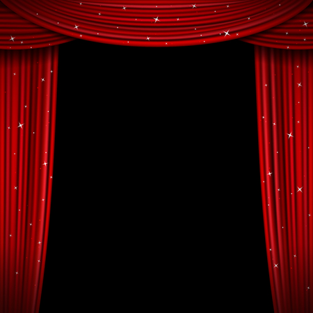 premiere: Glittering red curtain vector illustration. Open glitter curtains background. Curtain for exhibition and theatre interior, premiere screen with curtains