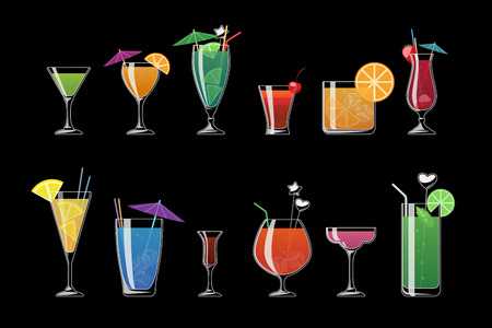 cold drinks: Alcohol drinks and beach cocktails isolated on black background. Alcohol cocktail with ice, illustration, alcohol cold beverage for beach