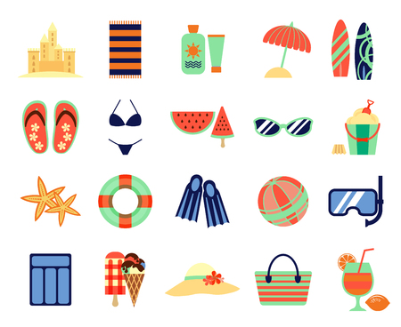 Beach summer vacation flat icons. summertime signs. Summer accessory for vacation, illustration of icon for summer time Illustration