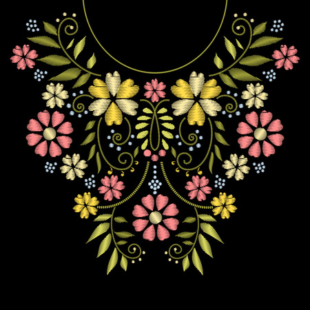 Neck line embroidery. neck embroidery design. Ornament with flower pattern for neckline illustration