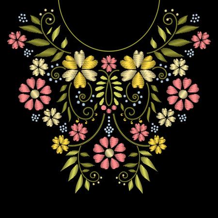 bordados: Cuello bordado línea. diseño de bordado cuello. Ornamento con el modelo de flor para la ilustración escote Vectores
