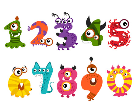 Funny cute monster numbers for halloween party event . Color numbers for mathematics and illustration number minsters for education Иллюстрация