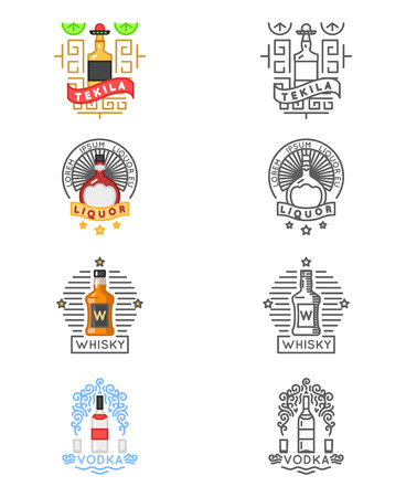 vodka: Alcohol drinks set. Whiskey and tequila, vodka and liquor labels for restaurants and bars. Label or emblem for alcohol beverage, illustration for alcohol menu Illustration