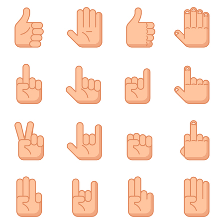 symbol icon: Hand gestures flat signs. human gesture for communication, illustration set of gestures with hand Illustration