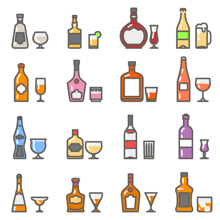 stemware: Alcohol bottles and alcohol glasses and stemware line flat icons. illustration