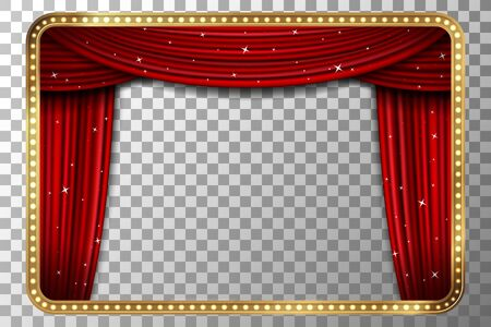 curtain background: Frame with curtain. Retro golden frame with red curtain. illustration Illustration