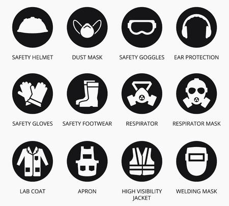 Industria de salud y equipo de protección de seguridad iconos. conjunto de equipos para la protección de la salud, equipos de ilustración para la industria de la construcción