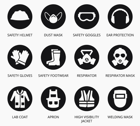 wear mask: Industry health and safety protection equipment icons. set of equipment for protection health, illustration equipment for industry construction