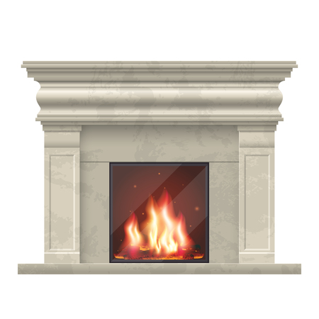 comfort room: classic fireplace for living room interior. Fireplace for home interior, illustration comfort fireplace