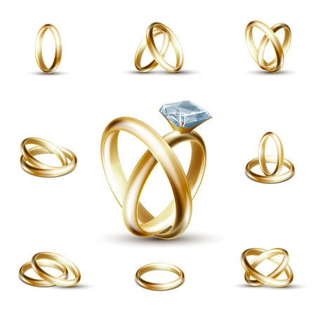 diamond ring: Wedding rings and wedding diamond ring illustration. Golden ring with gemstone