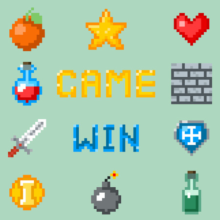 Pixel games icons for web, app or video game interface. Object for game heart bottle and fruit, set of gaming pixel objects. illustration Vettoriali