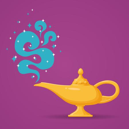 lampara magica: lámpara mágica o Aladino ilustración lámpara. Lámpara espiritual de deseo Vectores