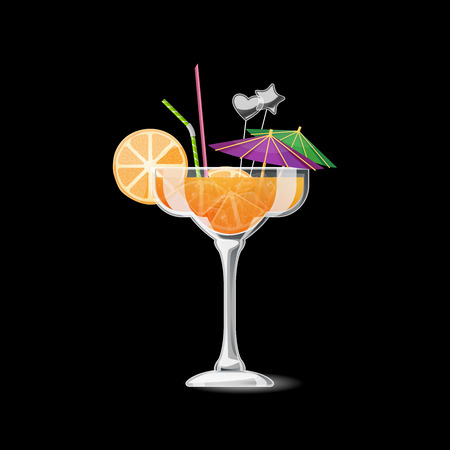 beverage: Tropical cocktail isolated. Alcohol beverage with orange and straw. Summer cocktail in glass illustration Illustration