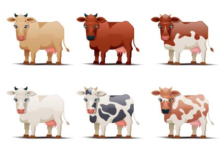 cows. Cows of different colors on white background. Spotted cow illustration