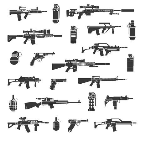 Arma iconos y señales de guerra o militares. Conjunto de armas para el ejército, arma ilustración armas y una granada