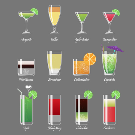Alcoholic cocktails illustration. Mojito and caipirinha, margarita and cosmopolitan. Alcohol beverage cocktail white russian, drink fresh cocktail