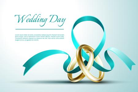 Wedding rings with ribbon invitation card template. Invitation card for wedding, illustration banner postcard wedding