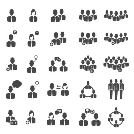 People icons. Business people and social groups signs illustration. Teamwork and partnership, management group of people Illustration