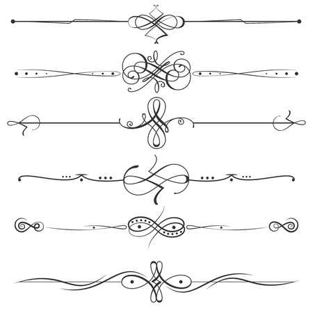 Calligraphic flourishes page dividers. page decoration calligraphic elements