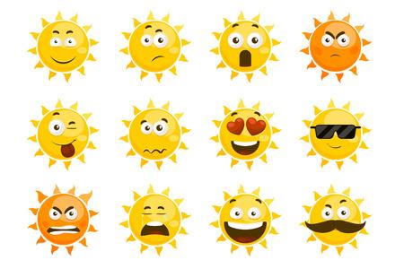 Sourire émoticônes de soleil. dessin animé sourire coucher du soleil. Cartoon visage soleil illustration
