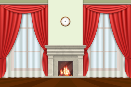 Classic interior. Living room interior with curtains and fireplace, illustration Illustration