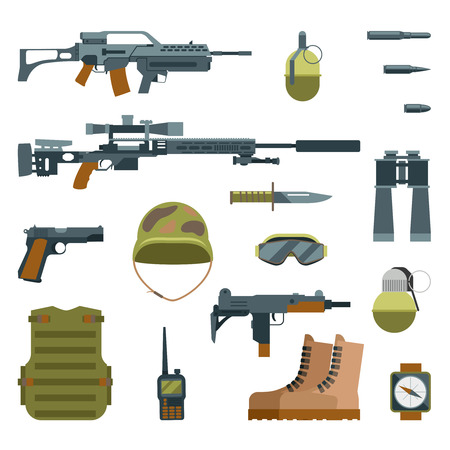 Military armor and weapon guns icons flat set. Automatic weapon and protective goggles, illustration grenade helmet and sniper weapon Illustration