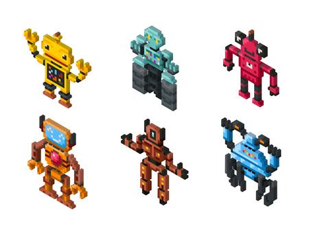 Isometric robot toys on white background. Set of robots and illustration friendly pixelated robot