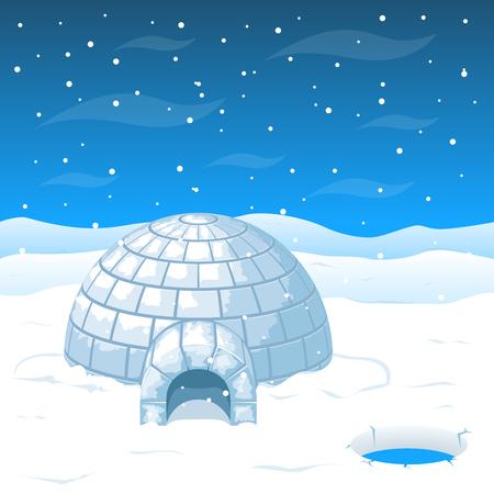 Eskimo casa fredda da blocchi di ghiaccio in Antartide illustrazione. casa cupola per clima invernale e la casa a nord dal freddo