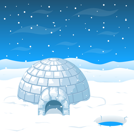 eskimo: Eskimo cold house from ice blocks in Antarctica illustration. Dome house for winter weather and north house from cold Illustration