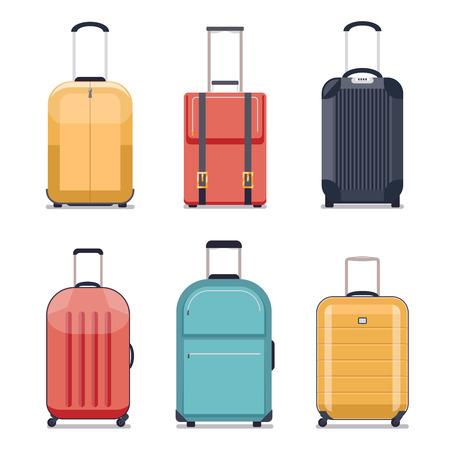 Travel luggage or travel suitcase icons. Luggage set for vacation and journey. illustration