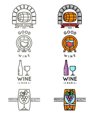 Wine line or winery line set. Vector wine badges and labels for wine bar menu illustration
