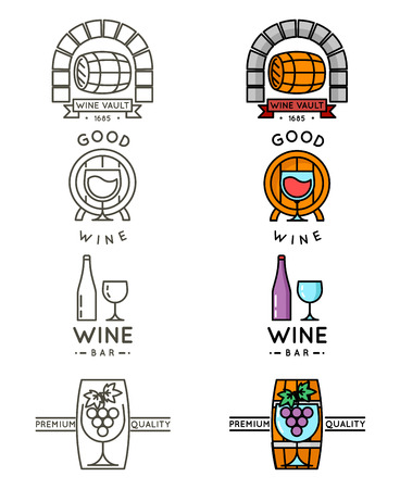 alcoholic: Wine line or winery line set. Vector wine badges and labels for wine bar menu illustration
