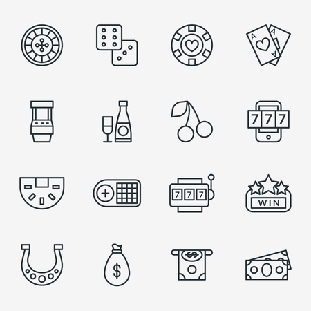 Casino line icons. Poker club and gambling linear signs. Icons of set for casino and gambling game in casino. Vector illustration Illustration