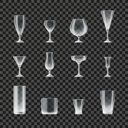 Glasses and goblets transparent vector icons. Glass for cocktail and champagne, illustration of glasses for beer and whiskey Illustration