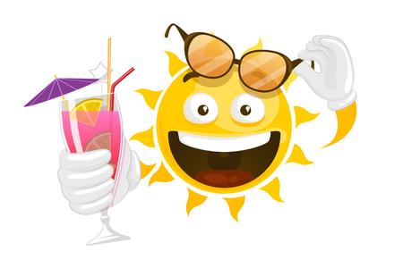 Cartoon sun. Vector summer cartoon smiley sun. Character smiley fun with cocktail illustration