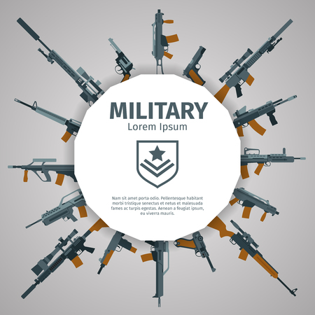 weapons: Weapons label. Vector guns badge with text. Automatic weapons uzi, illustration banner with group of weapons
