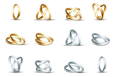 matrimony: Vector wedding rings. Gold and silver wedding rings isolated on white background illustration