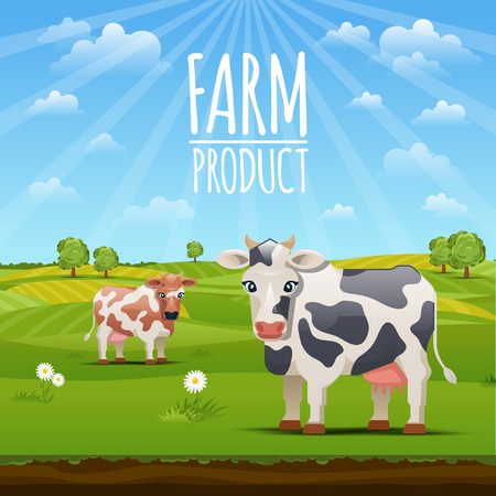 Farm landscape with cows vector illustration. Cow on meadow grass and cows graze