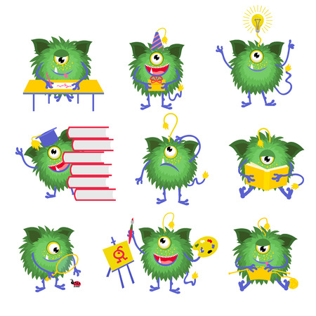 Kids education. Monster character with book vector illustration. Monster read book and happy monster with one eye Illustration