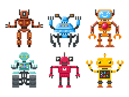 Pixel robots icons. 8 bit bots vector isolated. Set of robots in pixel style, illustration color robot
