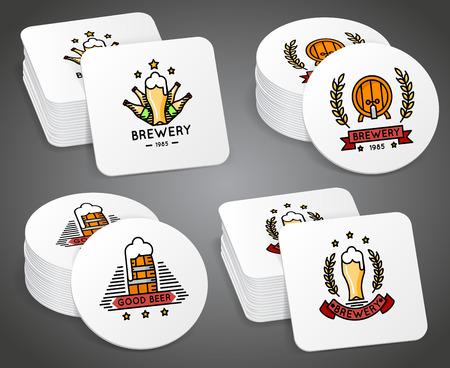 Beverage coaster with beer labels vector set. Beer coaster with  illustration coaster for mug beer