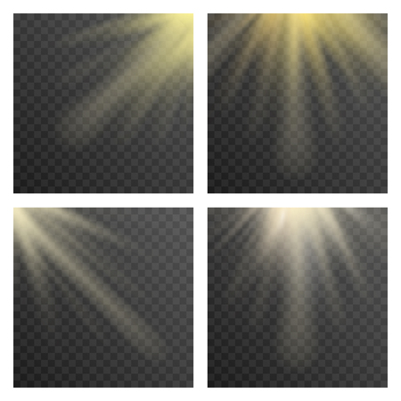 sunbeam: Sun beams or sun rays on transparent checkered background vector illustration. Illuminated sunbeam template Illustration