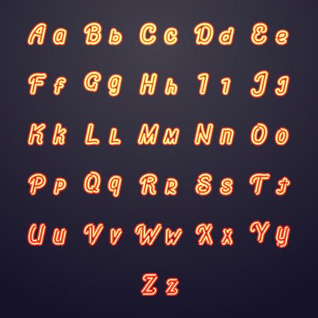 bright alphabet: Neon vector letters. Glow tube brightness symbols. Neon alphabet decoration, illustration bright alphabet glowing