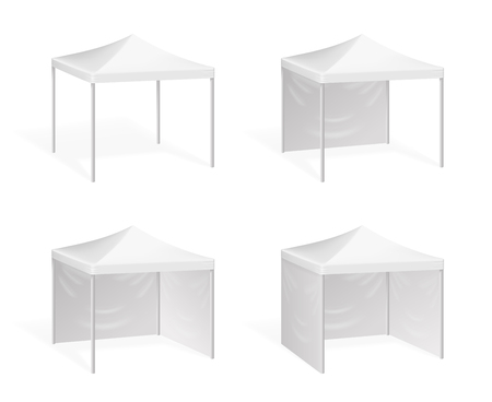 Vector canopy. Pop up tent for outdoor event. Canopy from sun, illustration shelter canopy for commercial pavilion