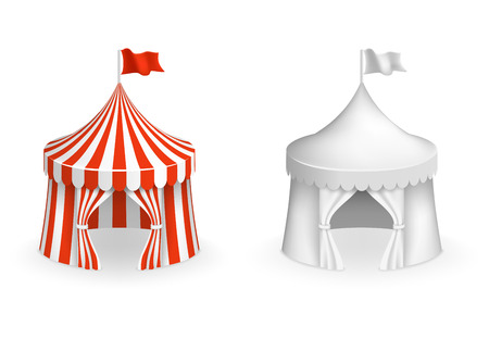 Round circus tent. Vector festival tent with entrance illustration. Circus and carnival, mockup tent for amusement