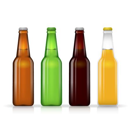 Beer bottle vector set. Dark beer and lager beer in glass bottle on white background illustration