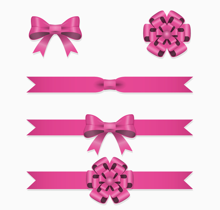 Pink ribbon and bow vector set for gift box. Ribbon decoration for gift, illustration silk ribbon for birthday and christmas