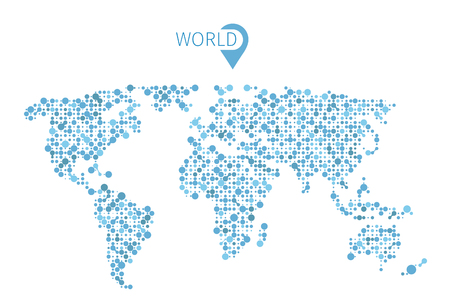 Vector world map from circles for infographic. Illustration map world and abstract shape map